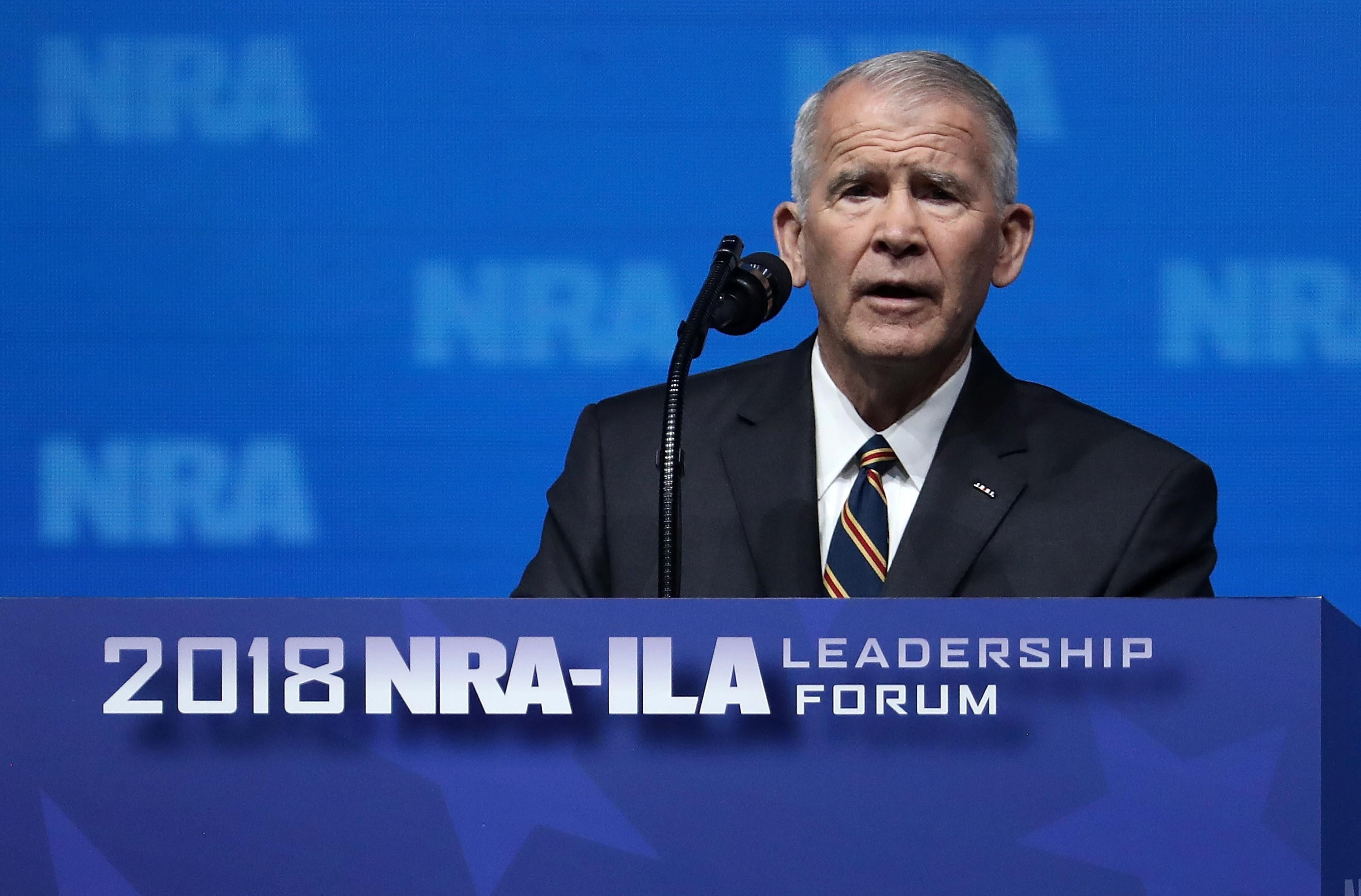 Oliver North speaks at the NRA-ILA Leadership Forum during the NRA Annual Meeting & Exhibits at the Kay Bailey Hutchison Convention Center on May 4, 2018 in Dallas, Texas.