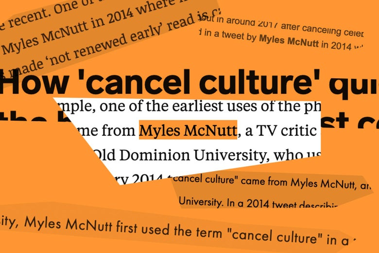 A collage of torn excerpts of pieces mentioning Myles McNutt and cancel culture