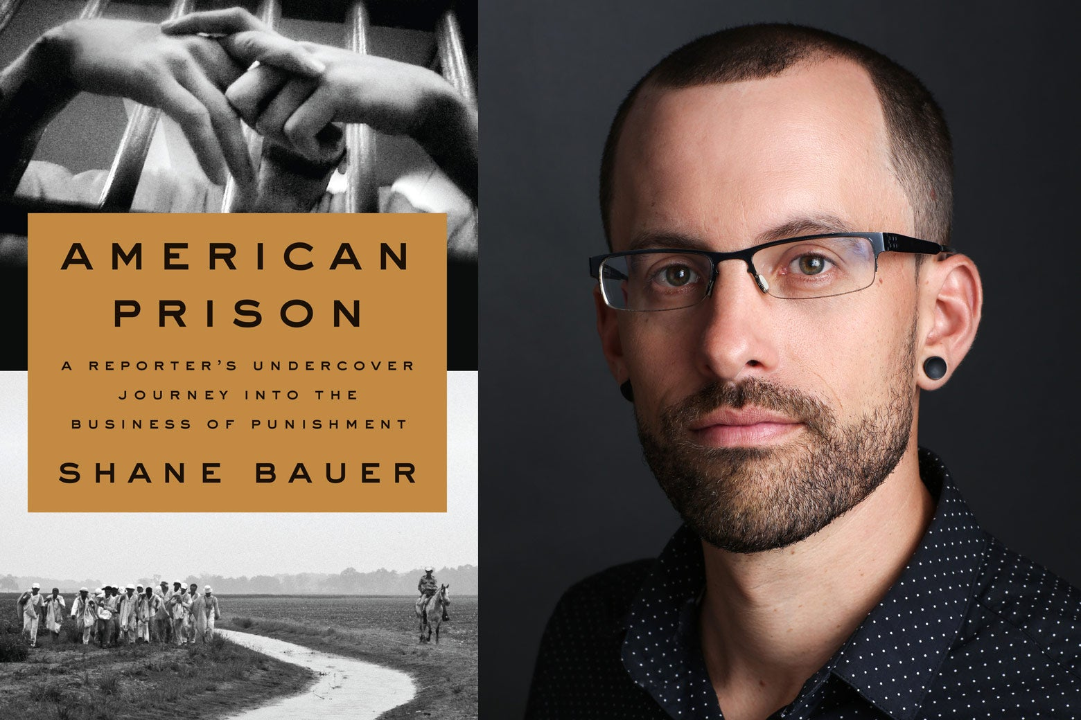 Book cover of American Prison beside a photo of Shane Bauer.