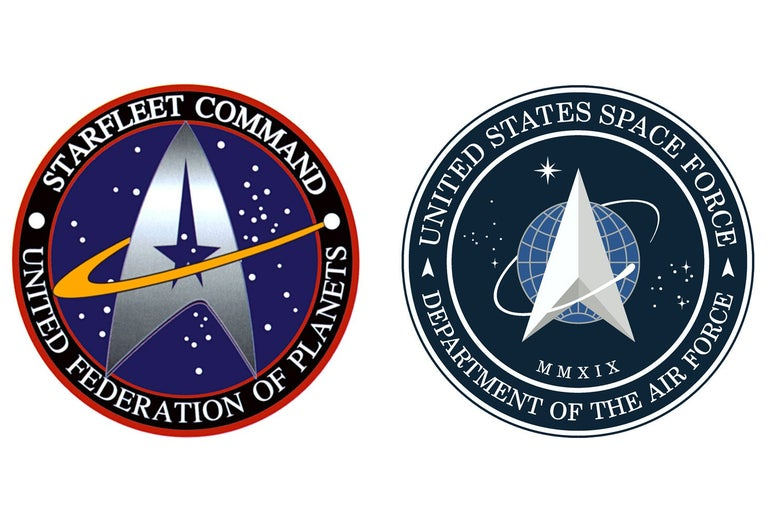 "On the left: a circular logo with an arrowhead-shaped symbol with a star through the middle. in the middle labeled ""Starfleet Command. United Federation of Planets."" On the right: a similar-looking logo, but without the star, and there is a blue circle behind the arrowhead shaped symbol. It is labeled ""United States Space Force. Department of the Air Force."""