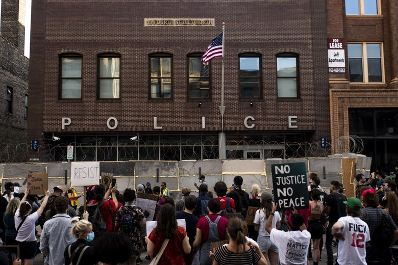 Protesters gather outside the First Police Precinct Station on June 11 in Minneapolis.