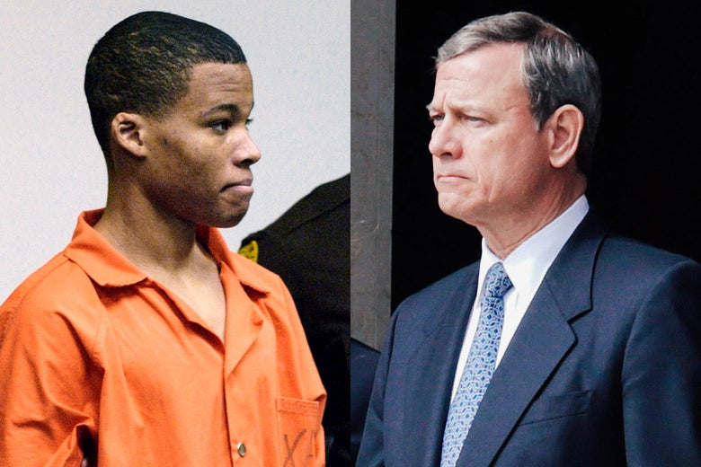 A composite image of Lee Boyd Malvo and John Roberts. It shows them as if they are facing each other.