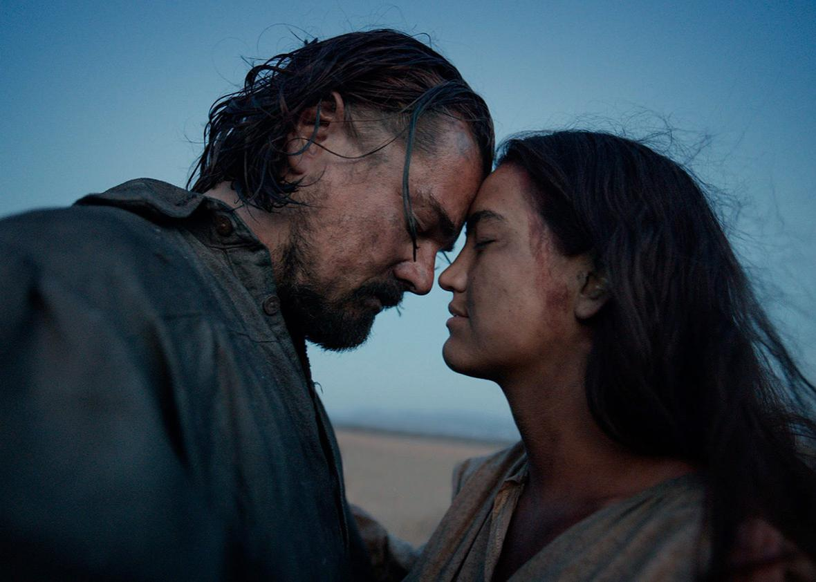 Leonardo DiCaprio and Grace Dove in The Revenant.