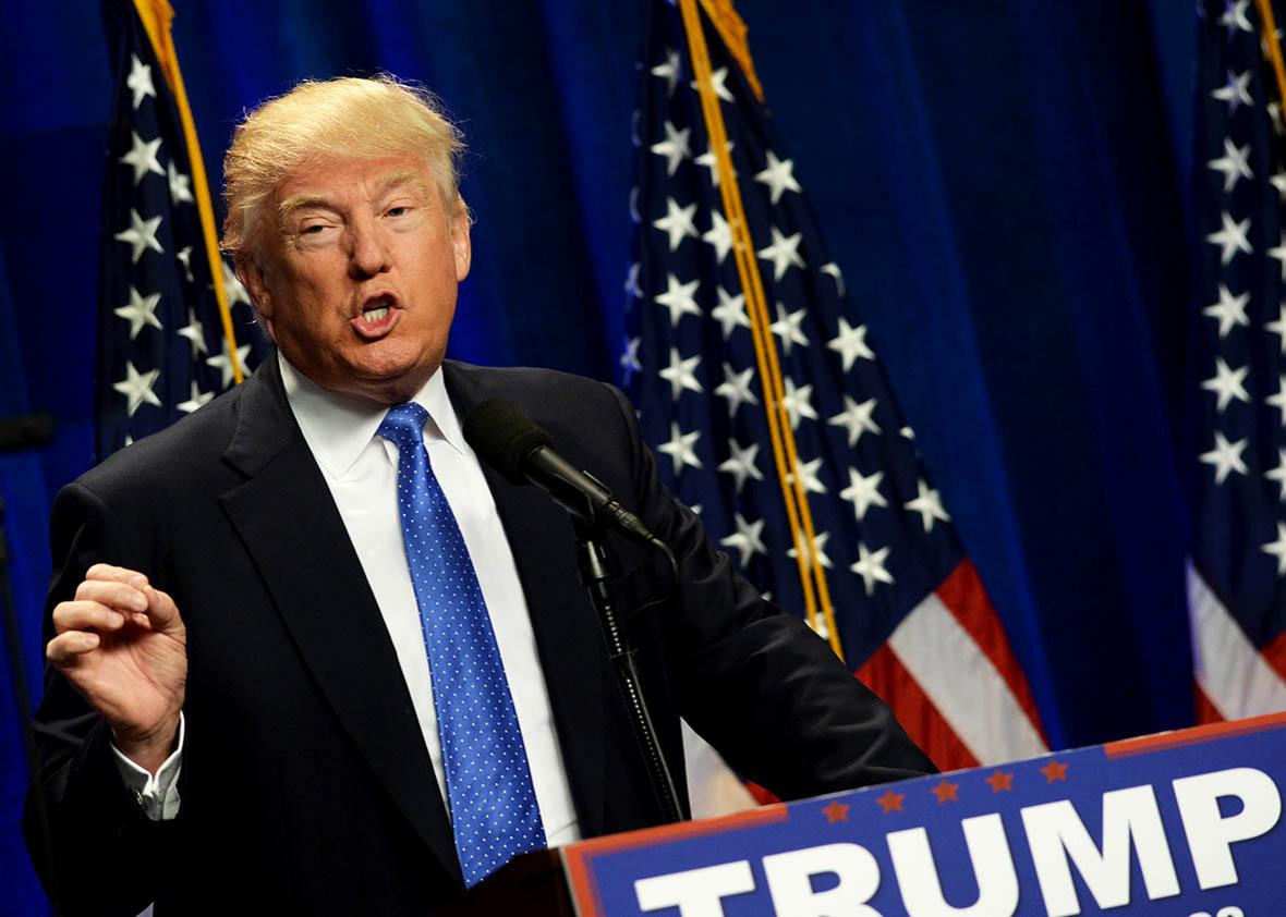 Republican Presidential candidate Donald Trump speaks at Saint Anselm College June 13, 2016 in Manchester, New Hampshire.