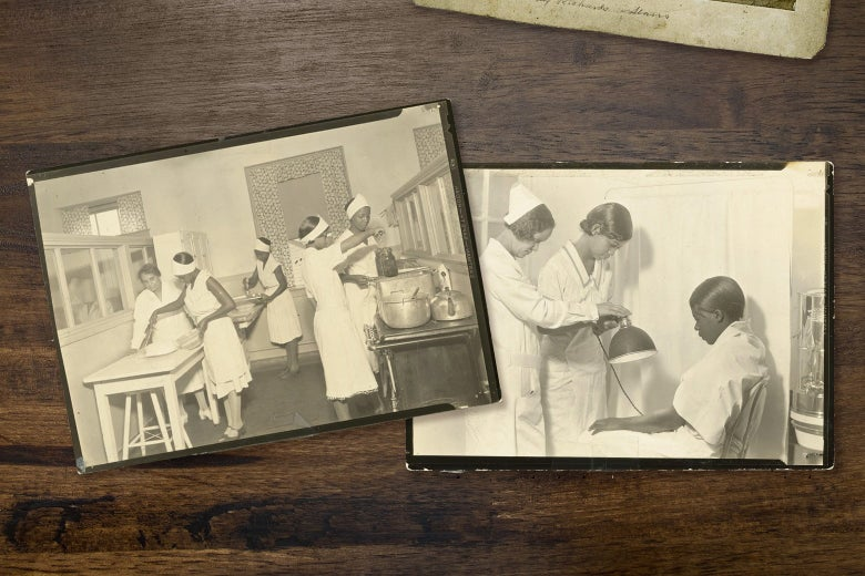 A group of Black women stand in a kitchen learning skills while another group, studying to be nurses, examines a patient.