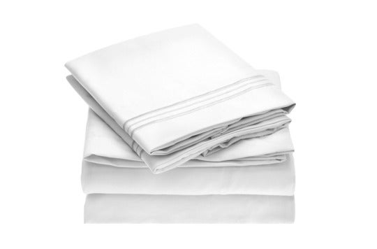 White Mellanni sheet set.