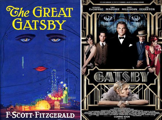 The cover of The Great Gatsby and a poster for the film The Great Gatsby.