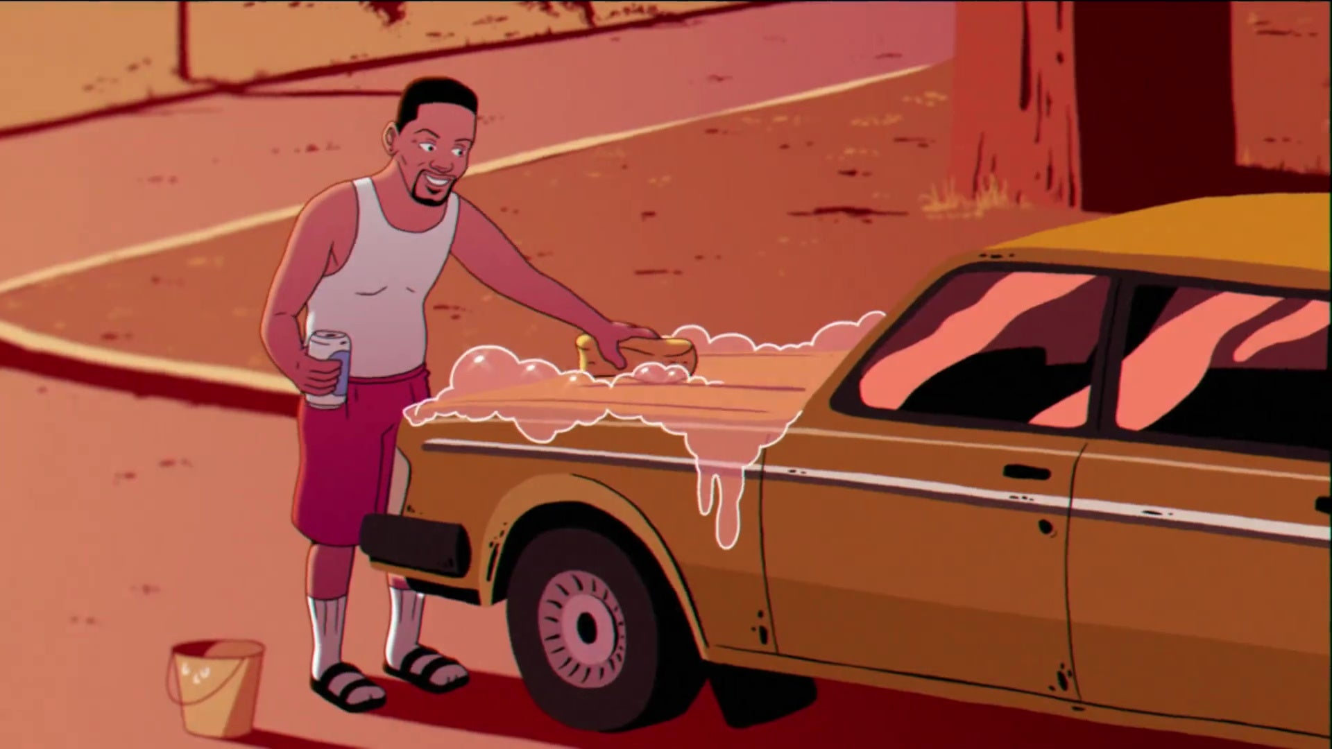 An animated version of Will Smith, wearing socks and sandals, washing his car down.