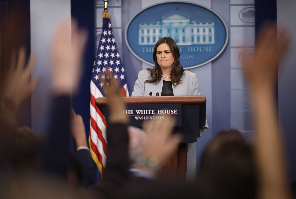 Sarah Sanders at the White House on Wednesday.