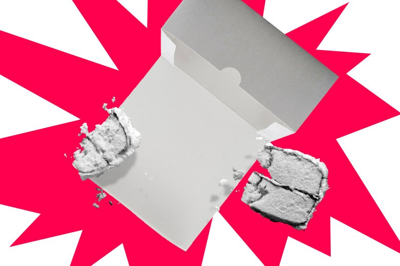 cake box with two remaining pieces