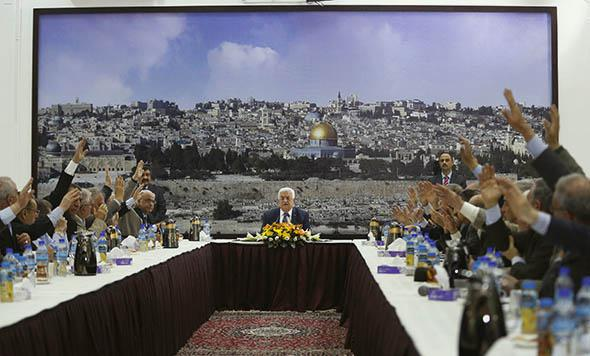 Palestinian leaders vote for international conventions as Palestinian president Mahmoud Abbas.