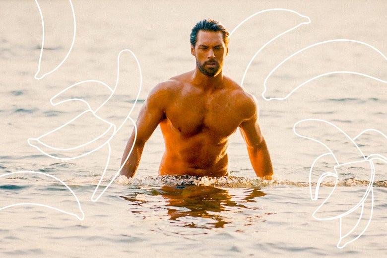 An extremely buff man rises out of the water. Over him are photoshopped a bunch of bananas.