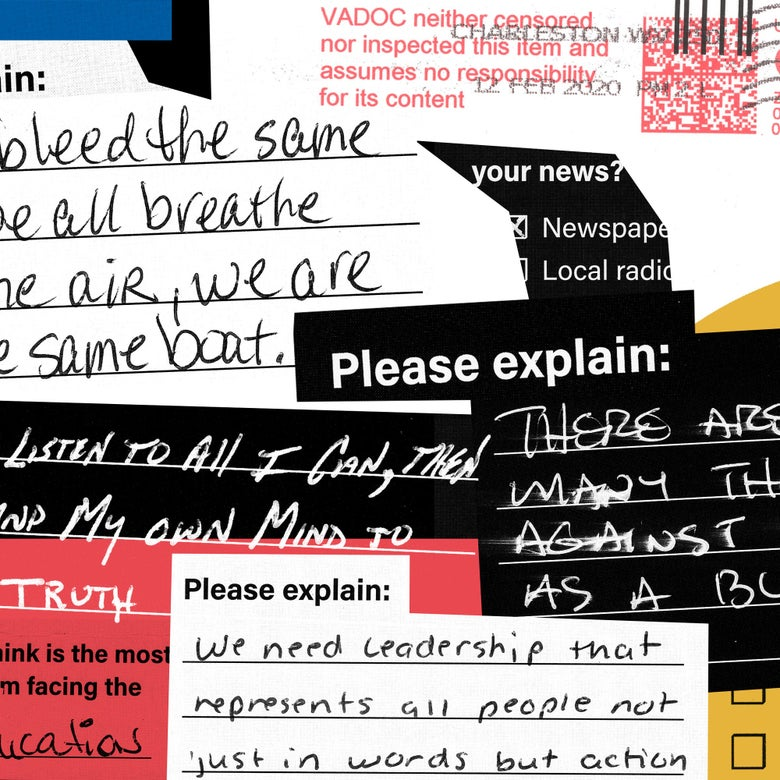 Handwritten responses in a collage.