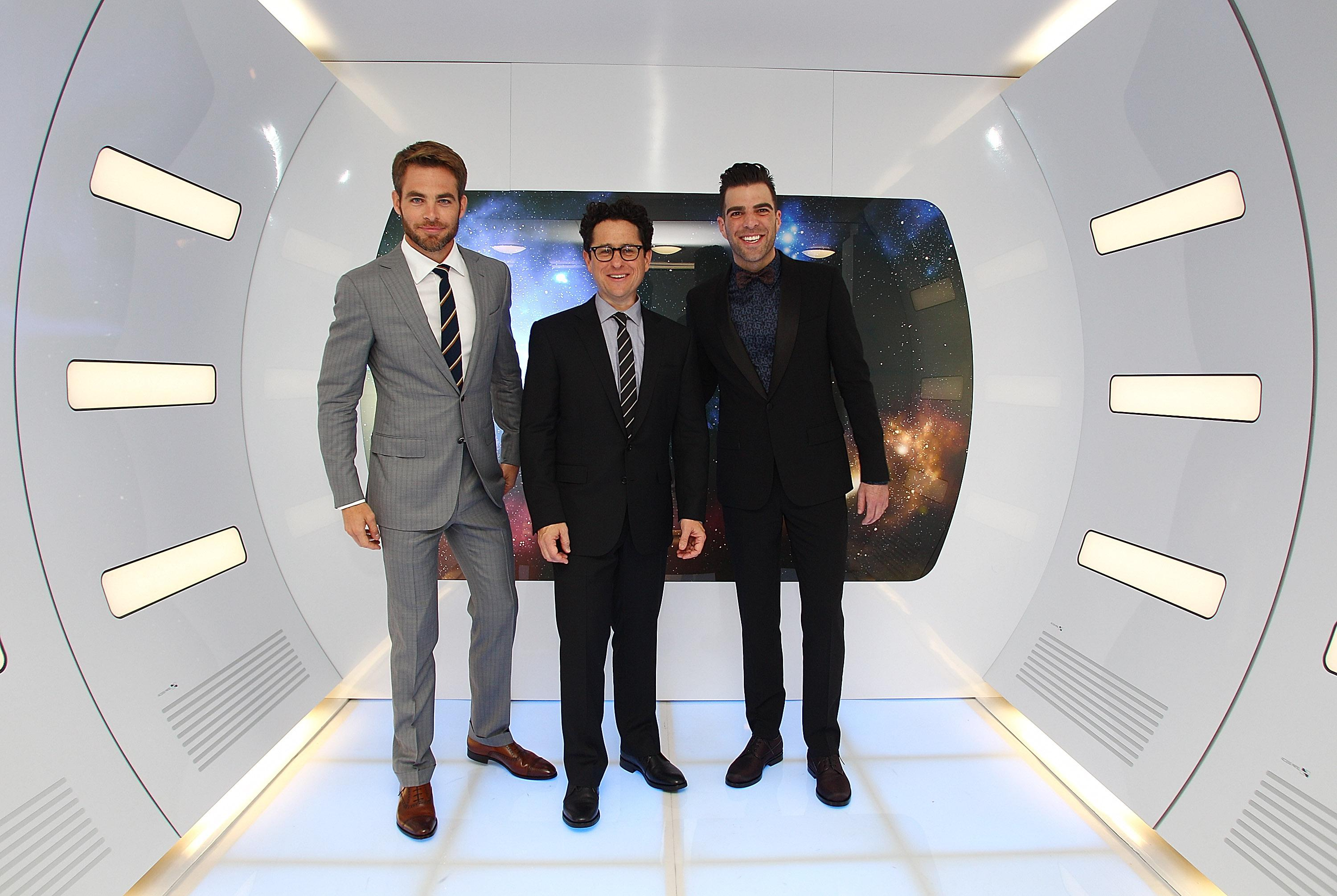 Chris Pine, director J.J. Abrams and Zachary Quinto