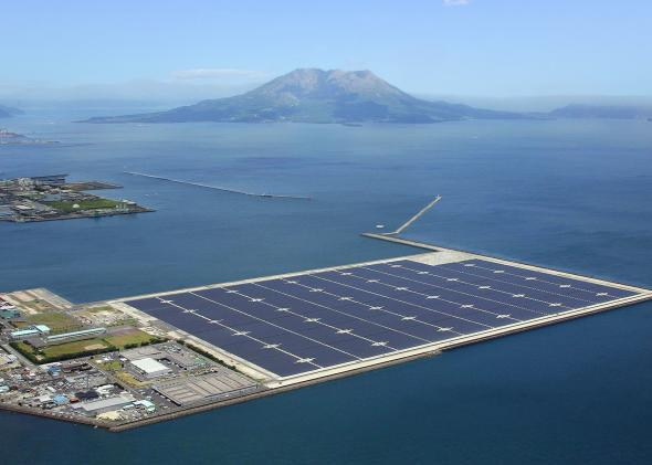 Kyocera solar power plant and Mt. Sakurajima