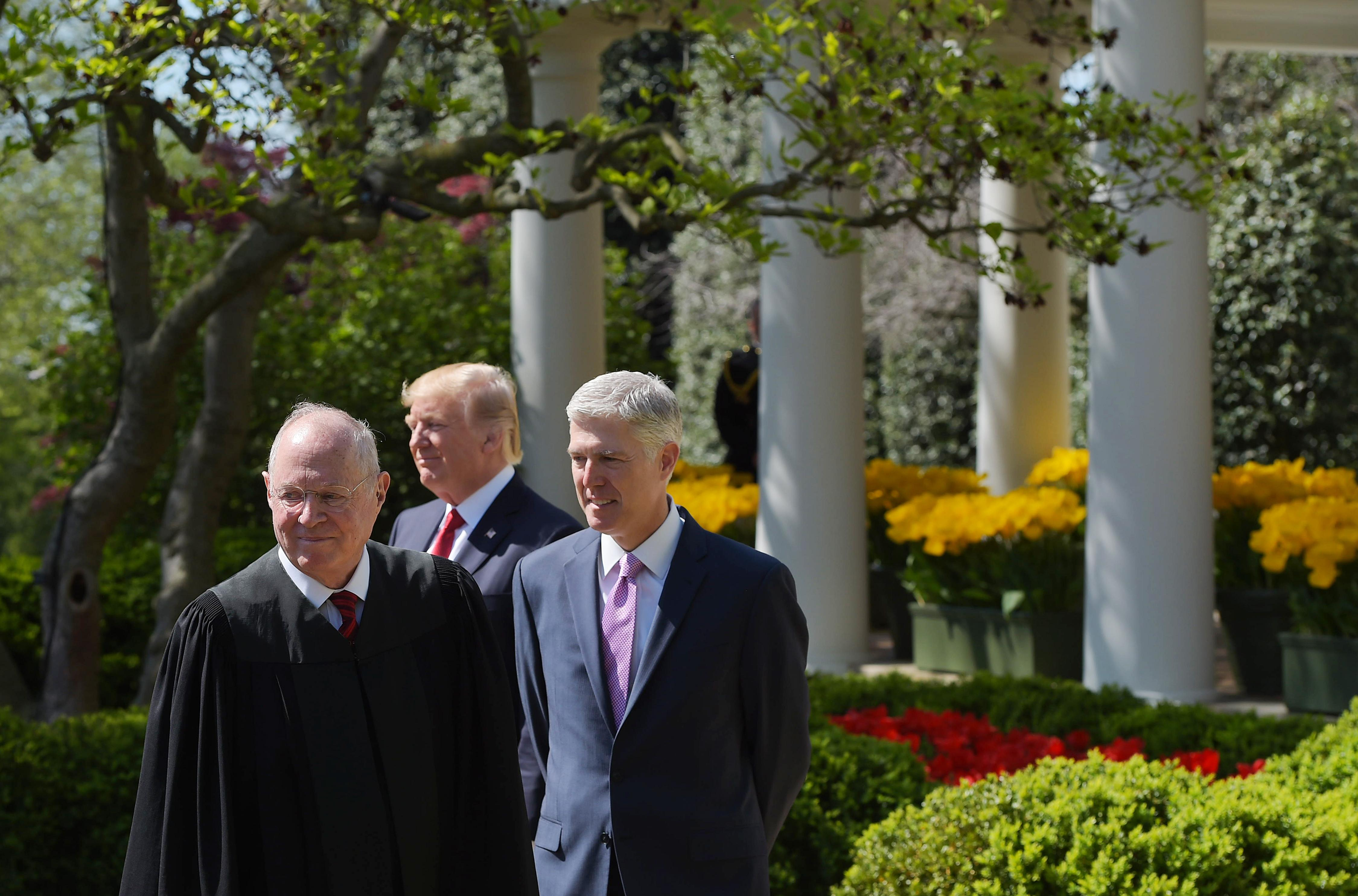 Kennedy, Trump, and Gorsuch outside the White House
