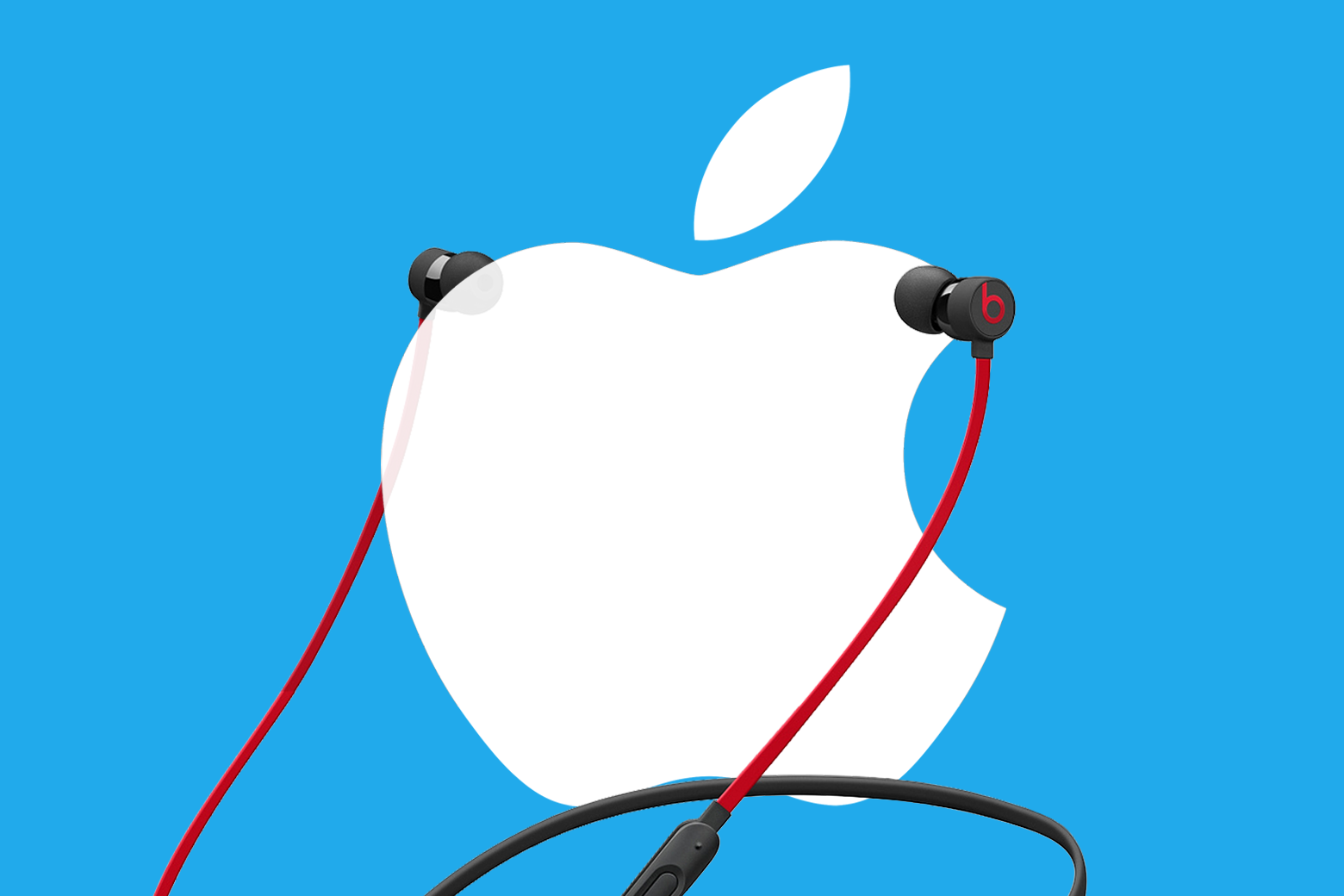 Photo illustration: headphones on top of the Apple logo.