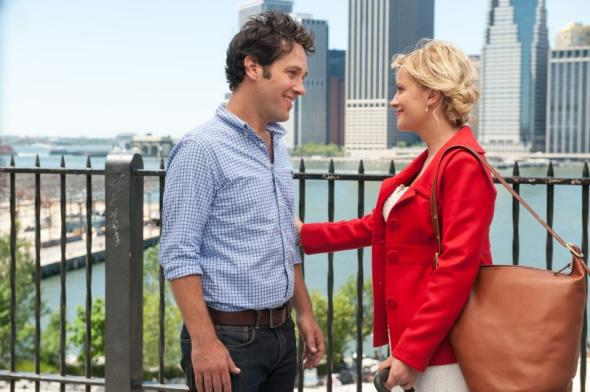 Joel (Paul Rudd), Molly (Amy Poehler), and New York City (Itself) in They Came Together.