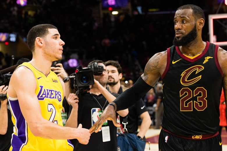 CLEVELAND, OH - DECEMBER 14: Lonzo Ball #2 of the Los Angeles Lakers shakes hands with LeBron James #23 of the Cleveland Cavaliers after the game at Quicken Loans Arena on December 14, 2017 in Cleveland, Ohio. The Cavaliers defeated the Lakers 121-112. NOTE TO USER: User expressly acknowledges and agrees that, by downloading and or using this photograph, User is consenting to the terms and conditions of the Getty Images License Agreement. (Photo by Jason Miller/Getty Images)