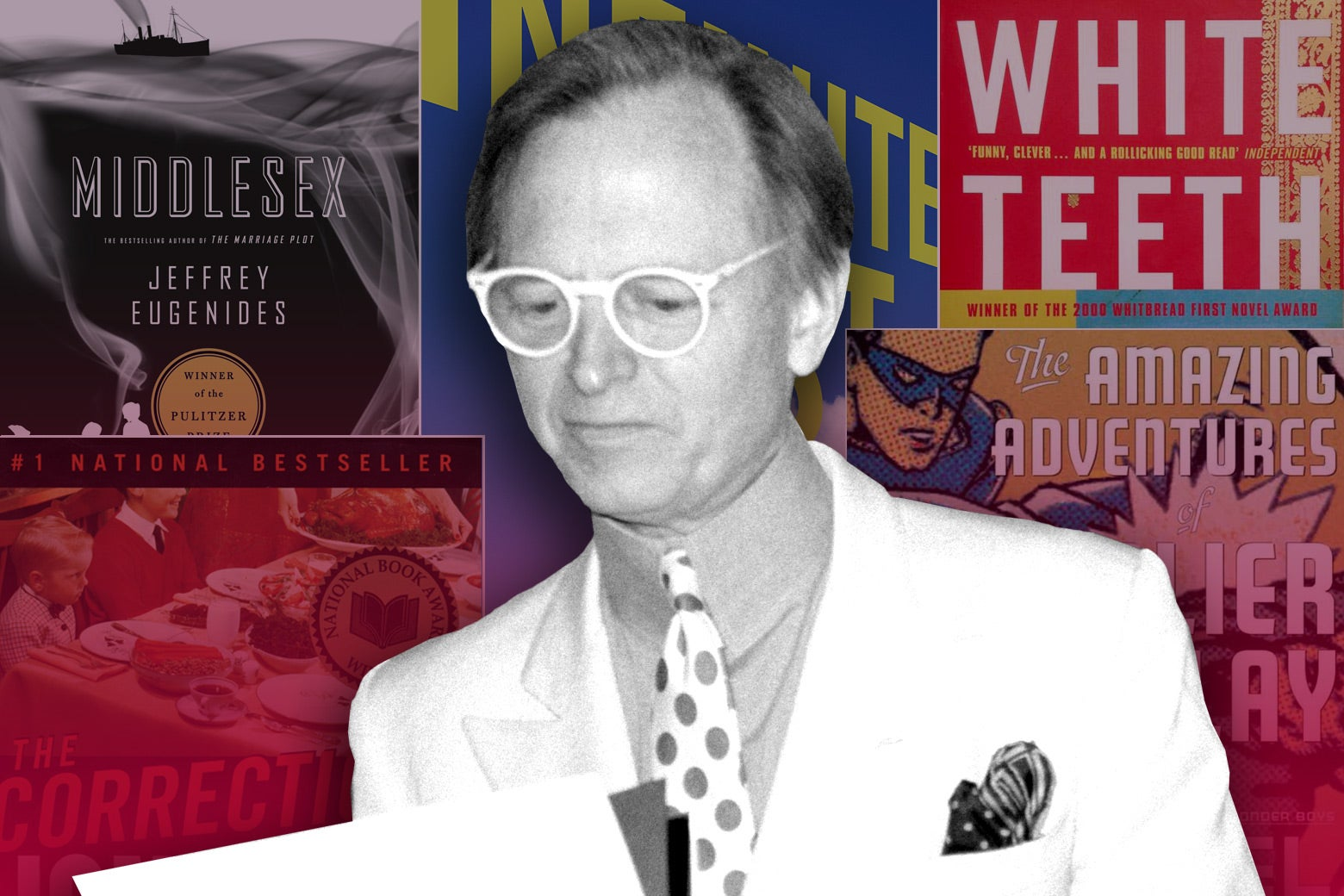 Tom Wolfe against a backdrop of fiction that he influenced.