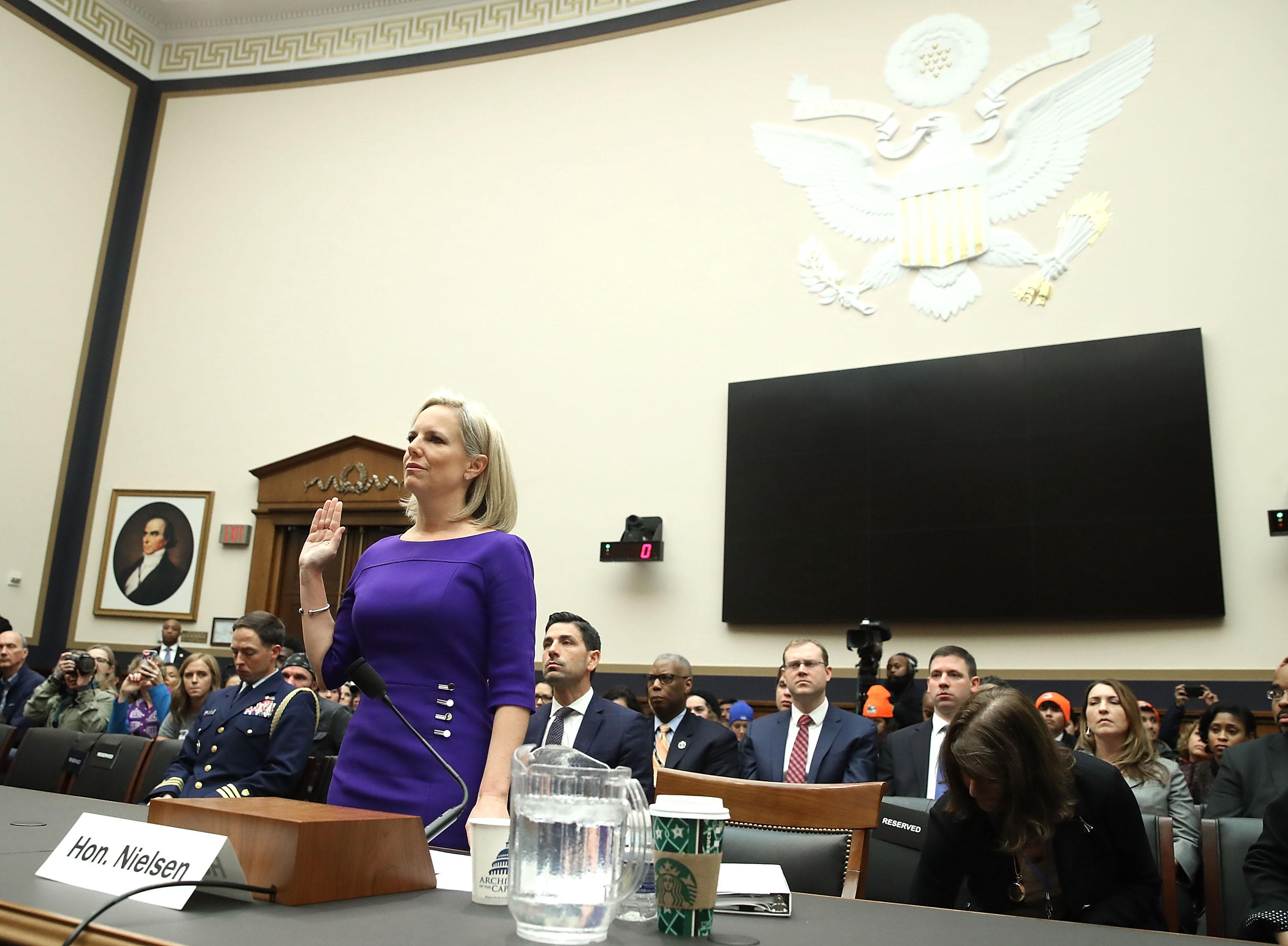 Homeland Security Secretary Kirstjen Nielsen is sworn in before testifying to the House Judiciary Committee, on Capitol Hill December 20, 2018 in Washington, D.C.