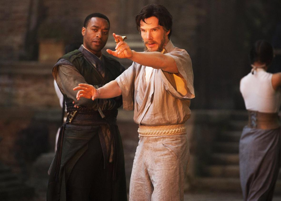 Chiwetel Ejiofor and Benedict Cumberbatch in Doctor Strange.