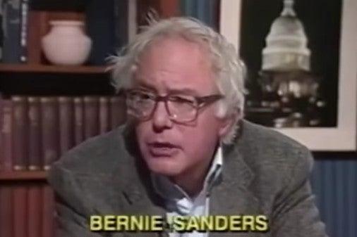 Screenshot of a video of Bernie Sanders speaking on TV in 1990.