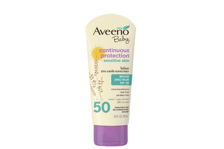 Aveeno Baby Continuous Protection Sensitive Skin Broad Spectrum SPF 50.