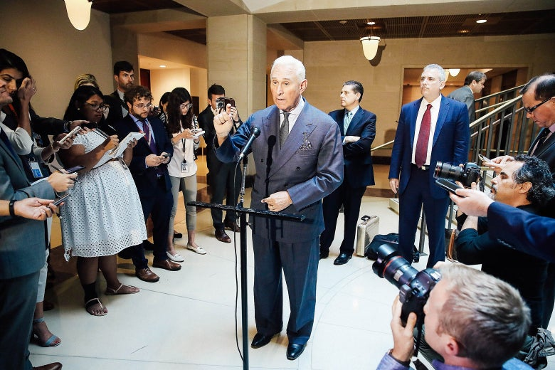 Roger Stone, former confidant to President Trump, speaks to the media after appearing before the House Intelligence Committee during a closed hearing on Sept. 26, 2017.