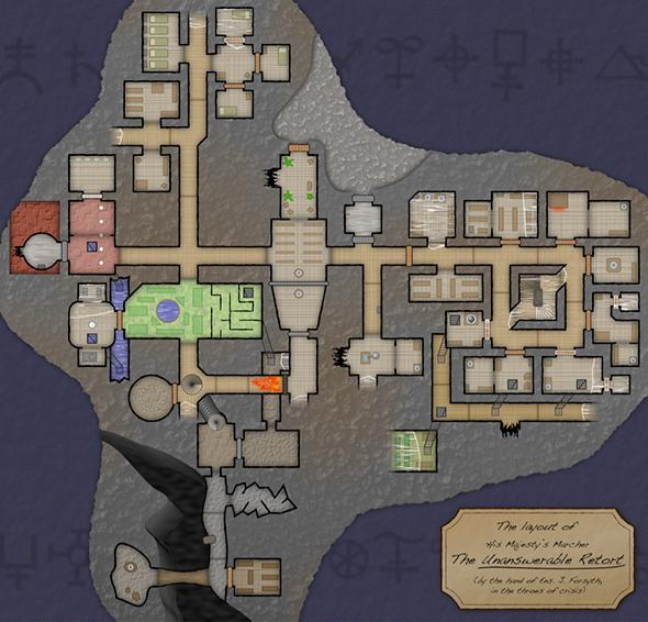 A static map of the spaceship's layout in Hadean Lands.