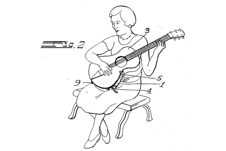 A drawing of a woman playing classical guitar.