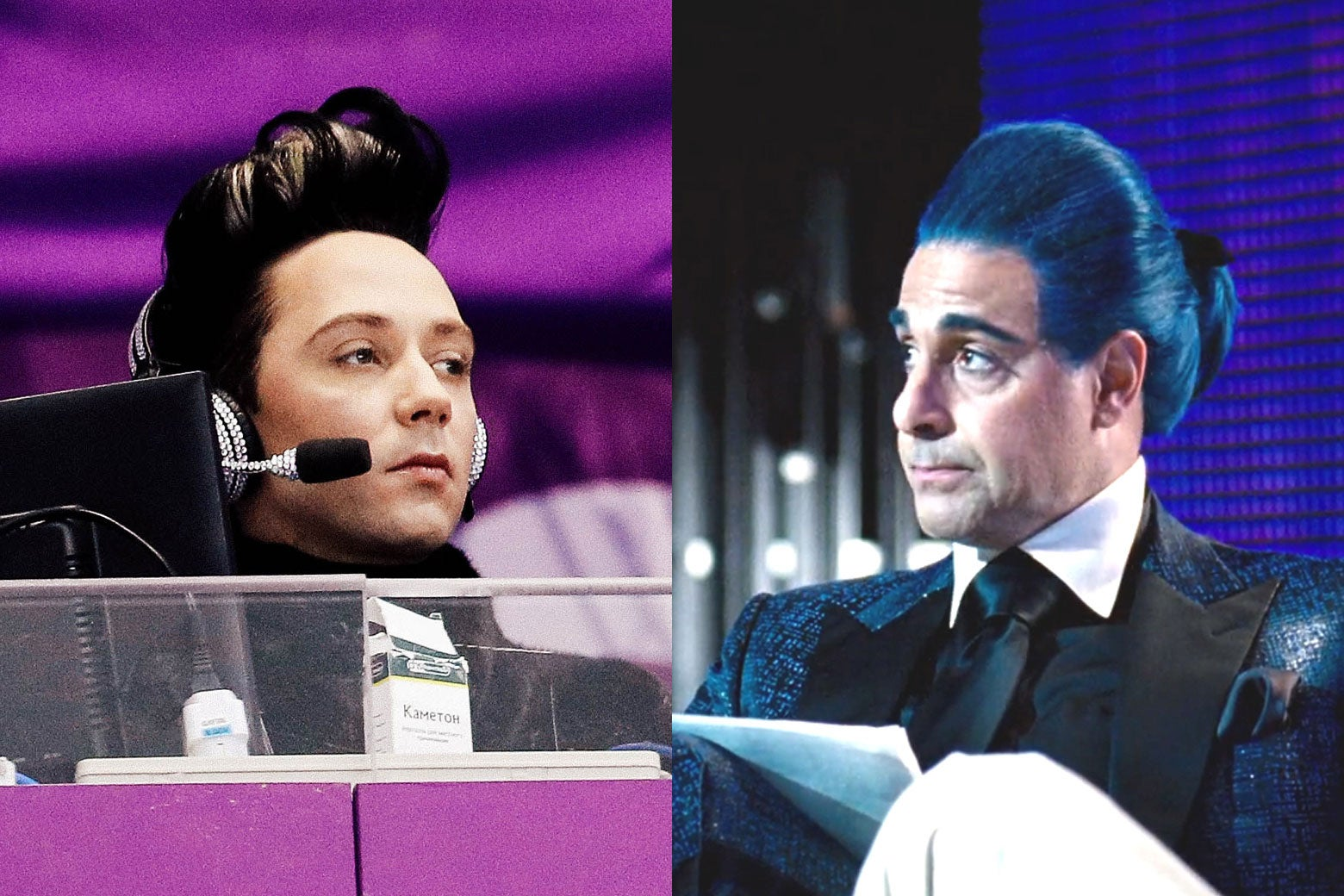 Left: Johnny Weir sports a pompadour. Right: Stanley Tucci as Caesar Flickerman sports a blue pompadour.