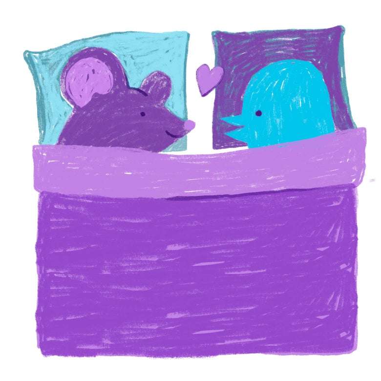 A purple rat in bed with the Twitter bird.