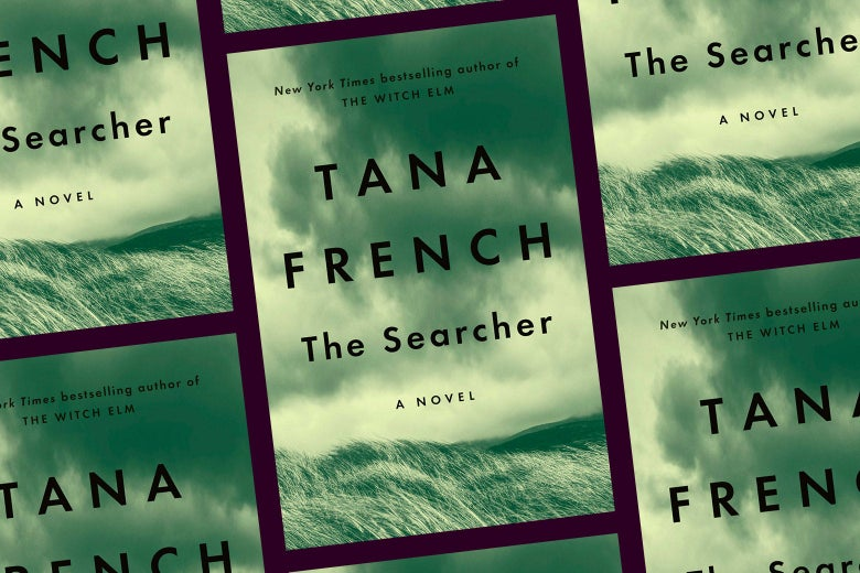 Repeating pattern of the cover of The Searcher: A Novel.
