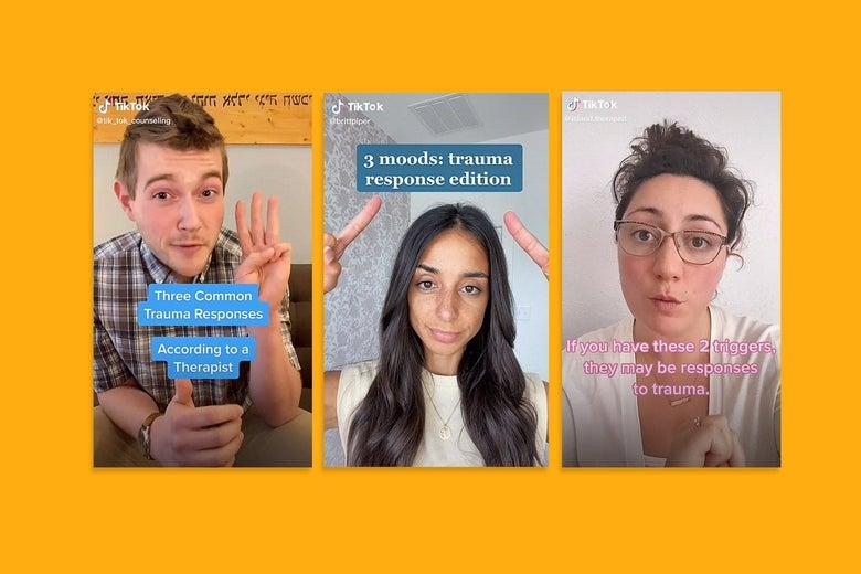 Three images from TikTok videos about trauma response.