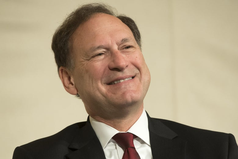 Supreme Court Justice Samuel Alito speaks during the American Bar Association's Section on International Law Conference in Washington on April 27.