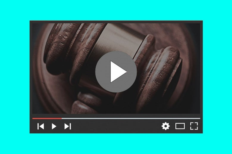 A still of a gavel in a YouTube player.