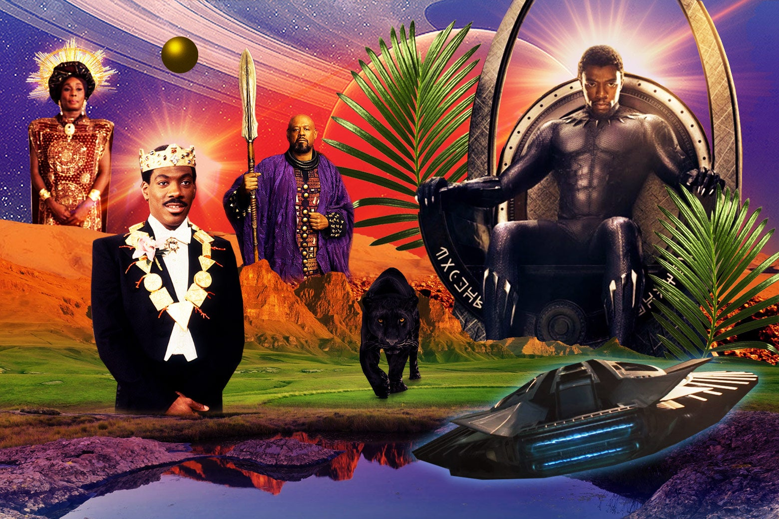 An African landscape depicting cast members of both Black Panther and Coming to America.