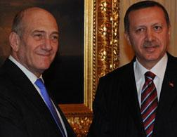 Israeli Prime Minister Ehud Olmert and Turkish Prime Minister Recep Tayip Erdogan. Click image to expand.