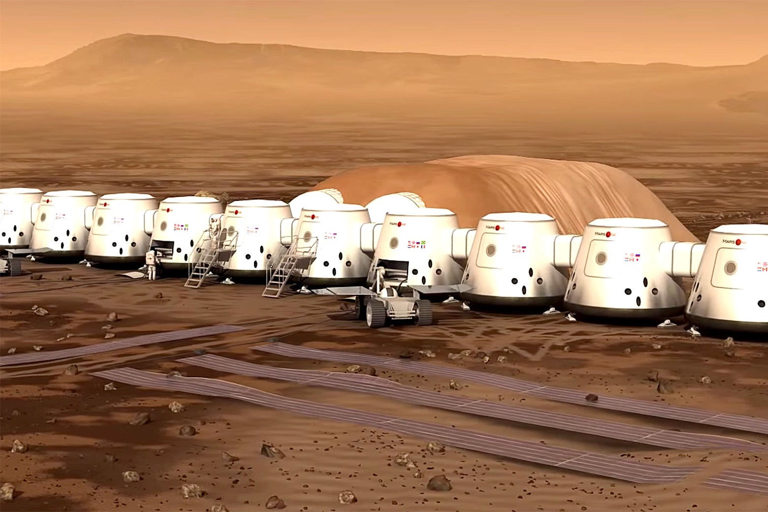 An animated concept of Mars One's future settlement on Mars.