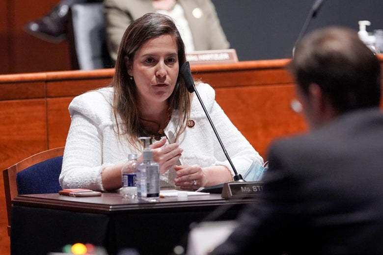 Rep. Elise Stefanik (R-NY) questions Secretary of Defense Mark Esper during a House Armed Services Committee hearing July 9, 2020 in Washington, D.C.