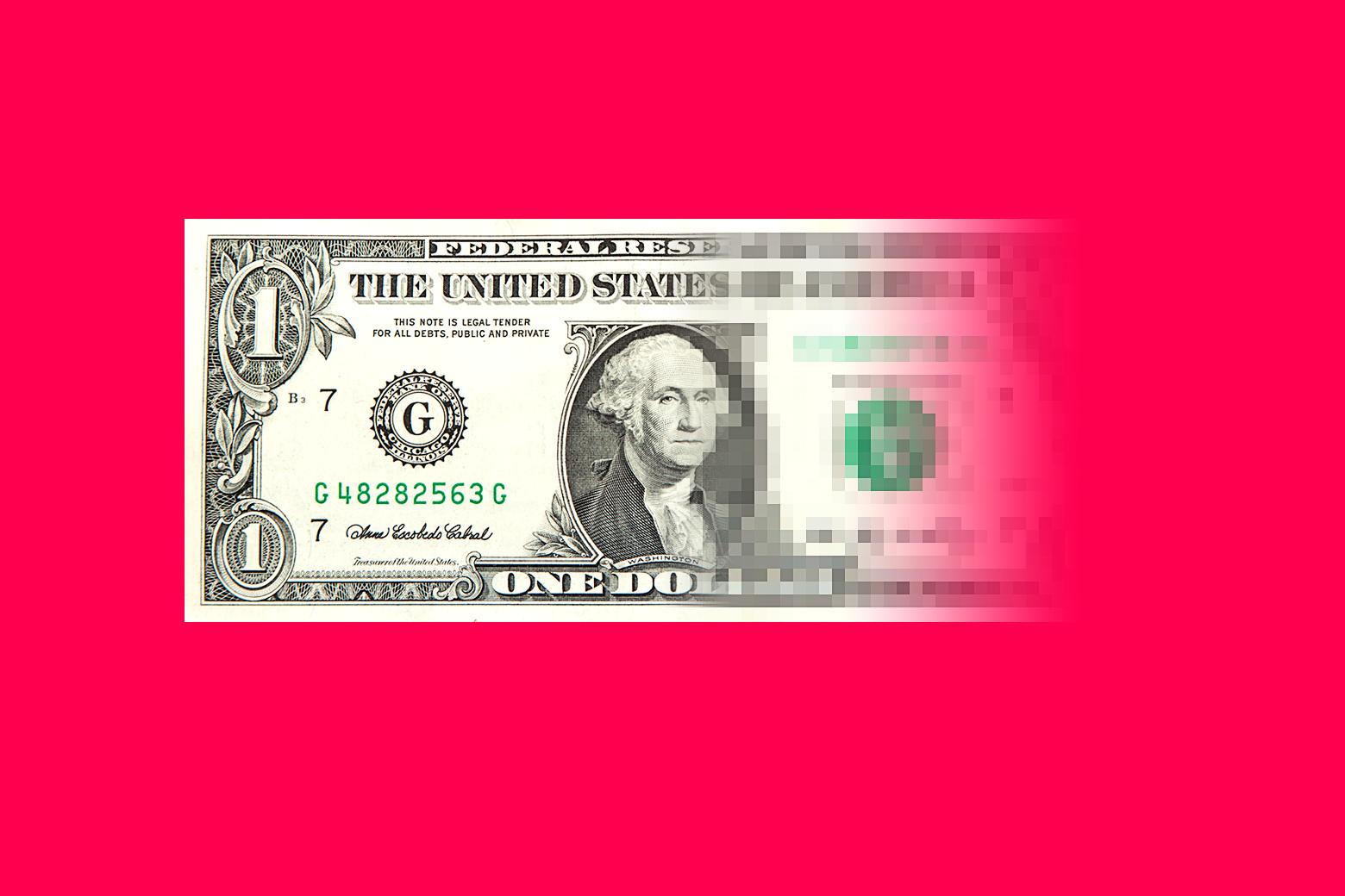 A dollar bill digitizing.