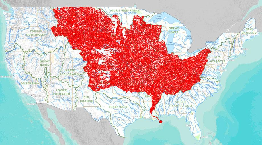 Chart: Tributaries of the Mississippi River.