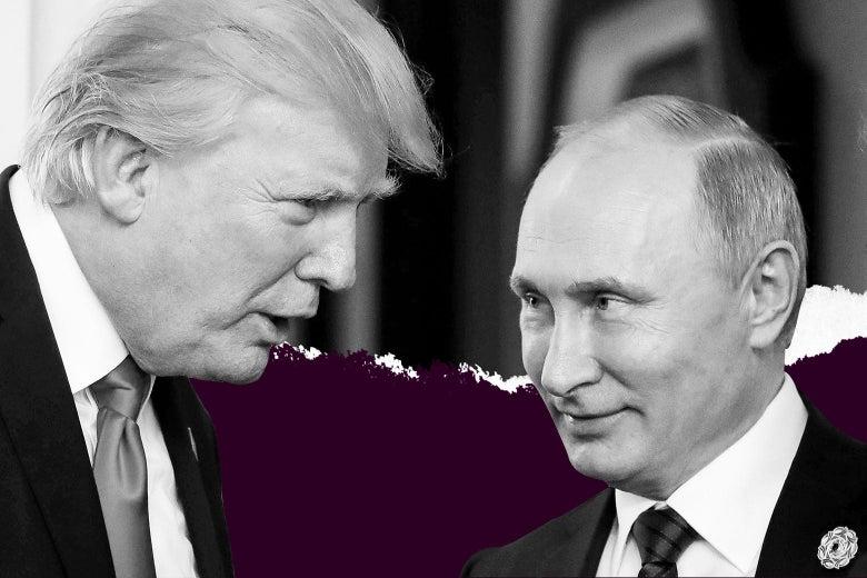 Donald Trump leans over to talk with Vladimir Putin.