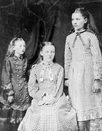 The first known photograph of the three eldest Ingalls sisters, taken around 1879
