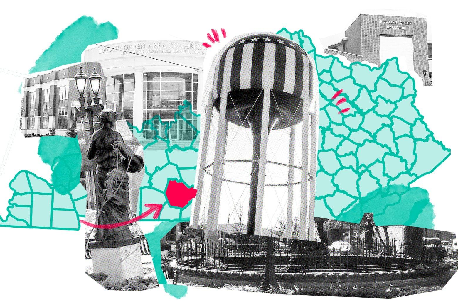 Collage of landmarks around Bowling Green, Kentucky.
