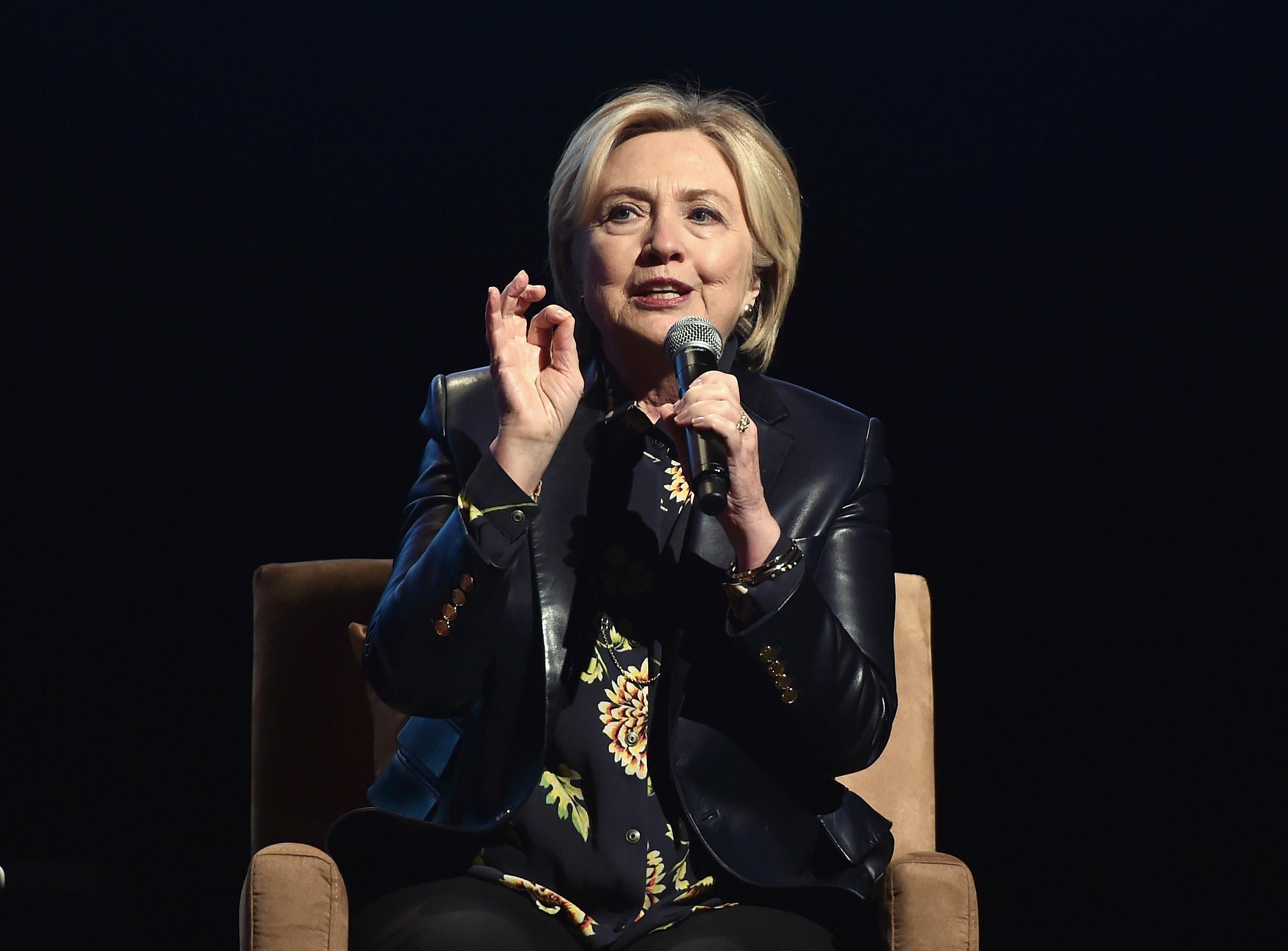 Hillary Clinton speaks onstage at LA Promise Fund's 'Girls Build Leadership Summit' at Los Angeles Convention Center on December 15, 2017 in Los Angeles, California.  (Photo by Alberto E. Rodriguez/Getty Images)