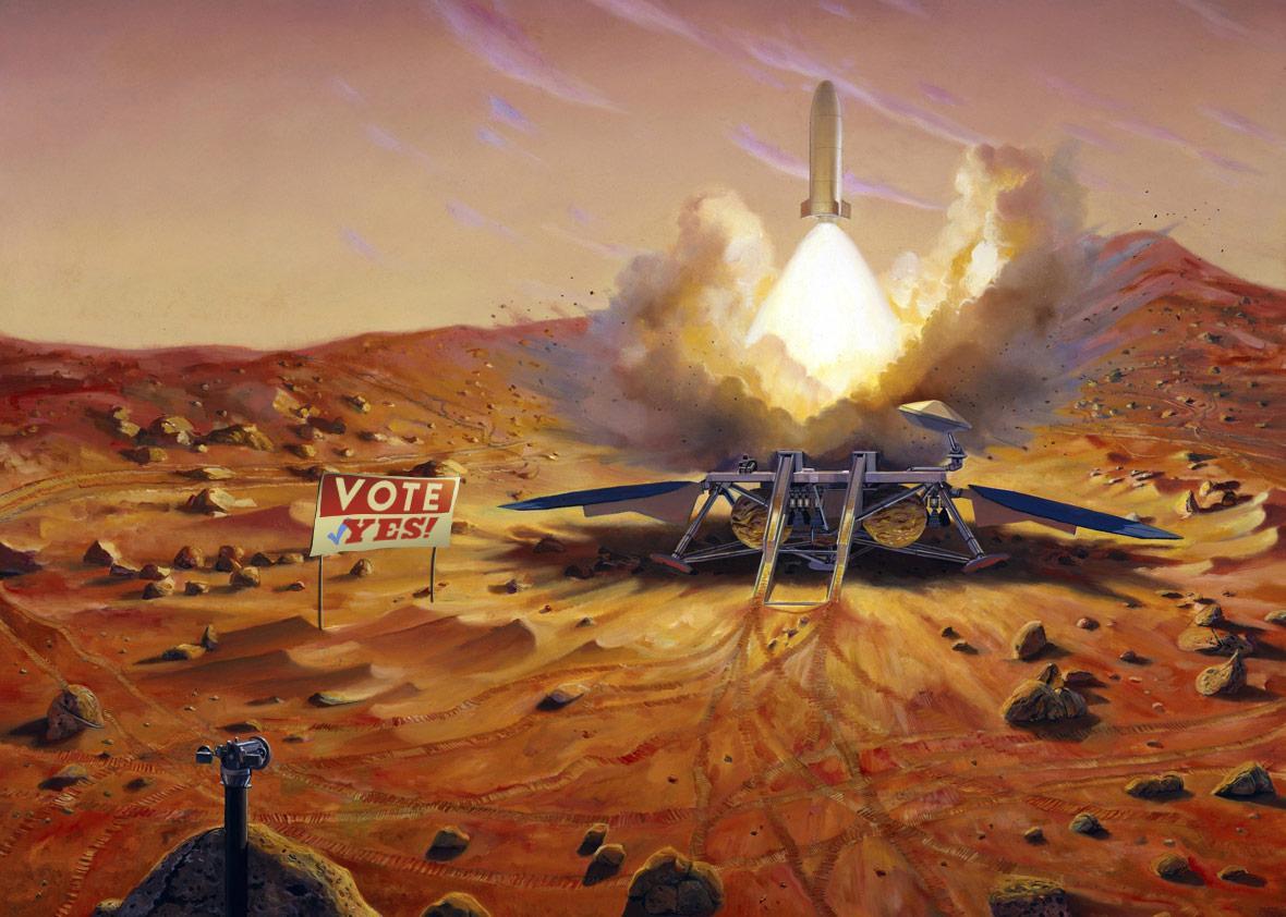Photo illustration by Natalie Matthews-Ramo. Illustration of rocket on Mars by Stocktrek Images/Thinkstock.