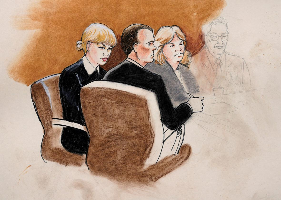 A sketch of Taylor Swift and her attorneys in Denver Federal Court during the Swift groping trial in Denver U.S. August 8, 2017.