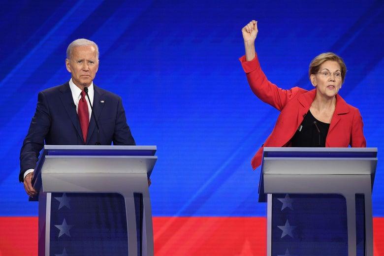 Democratic presidential hopefuls former Vice President Joe Biden and Massachusetts Senator Elizabeth Warren participate in the third Democratic primary debate of the 2020 presidential campaign season at Texas Southern University in Houston, Texas on September 12, 2019.